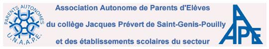 AAPE - Association Autonome de Parents d'Elèves du Collège Jacques-Prévert - Saint-Genis-Pouilly